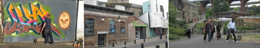 A wide range of creative sites in Ouseburn: (from left) street arts, 36 Lime Street Warehouse Office and Studio, Ouseburn Farm. Source: author, 2011.