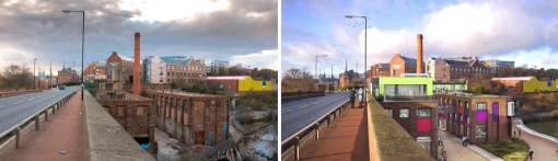 Current project in operation: Maynards Toffee Factory view from Glasshouse Bridge, before and after regeneration. Source: Paul J White, available at: http://www.flickr.com/photos/pauljw/4502542375/in/set-72157623681068575
